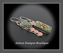 Load image into Gallery viewer, Royston Turquoise + Sterling Silver + Copper Hand Fabricated Earrings Embracing Individuality