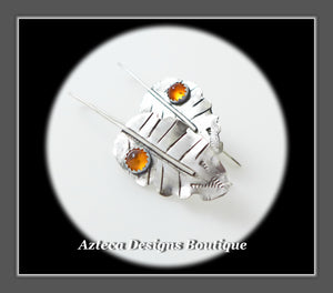 Sterling Silver + Baltic Amber Leaf Earrings