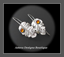Load image into Gallery viewer, Sterling Silver + Baltic Amber Leaf Earrings