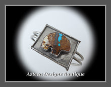 Load image into Gallery viewer, Bear Fetish Natural Royston Turquoise + Argentium Silver Hand Fabricated Cuff Bracelet
