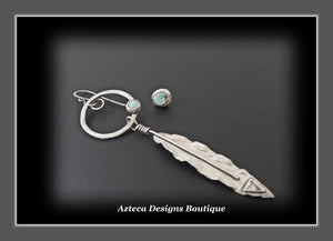 RESERVED FOR ADRIENNE... Rustic Nevada Turquoise + Sterling Silver Feather Earring + Post Earring Asymmetrical Pair