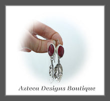 Load image into Gallery viewer, Rosarita + Argentium Silver Feather Earrings