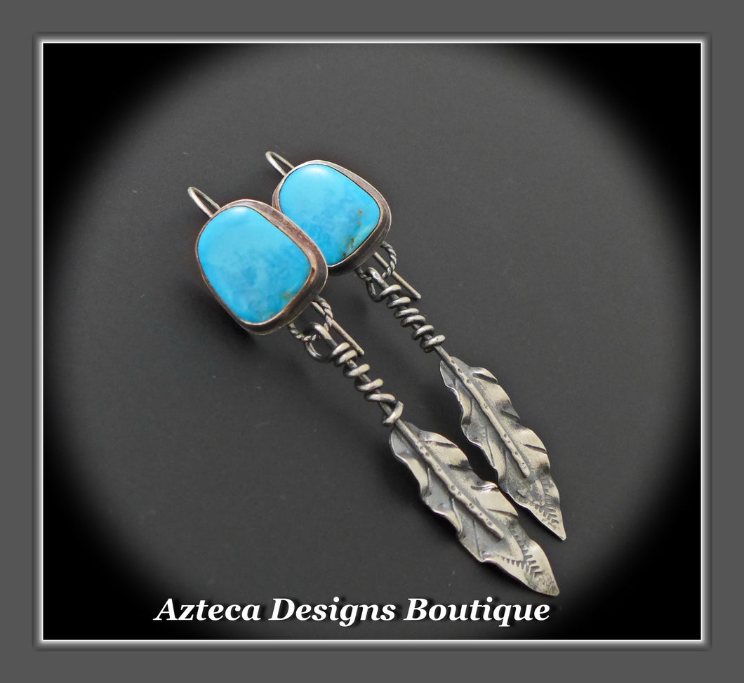 Kingman Turquoise + Argentium Silver Feather Earrings