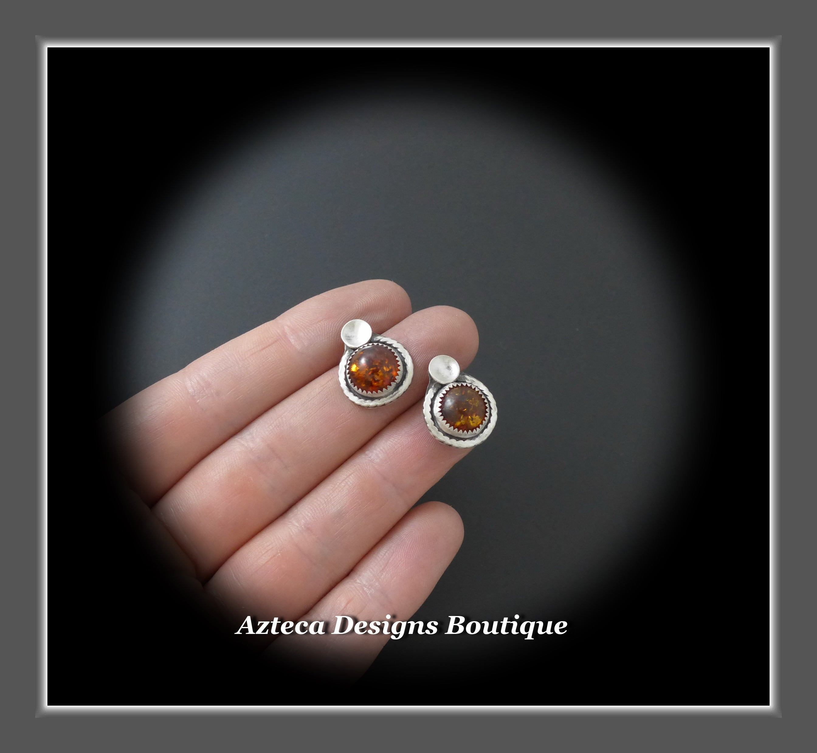 Baltic Amber + Sterling Silver Post Earrings