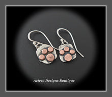 Load image into Gallery viewer, Sterling Silver + Copper Paw Print Earrings