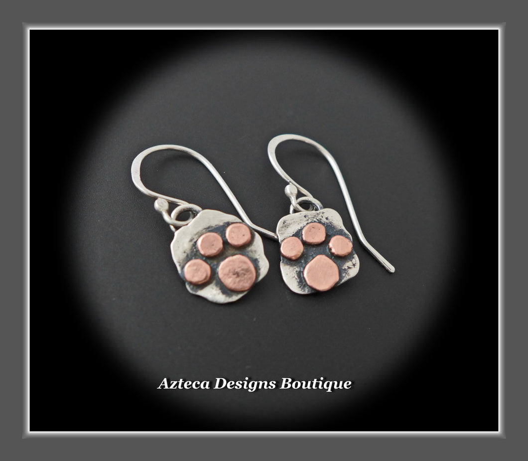 Sterling Silver + Copper Paw Print Earrings
