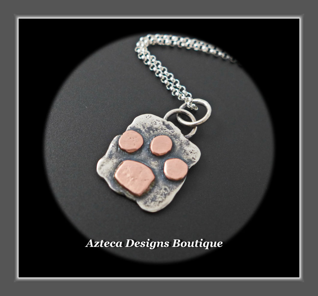 Sterling Silver + Copper Paw Print Pendant Necklace Medium