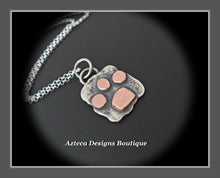 Load image into Gallery viewer, Sterling Silver + Copper Paw Print Pendant Necklace Medium