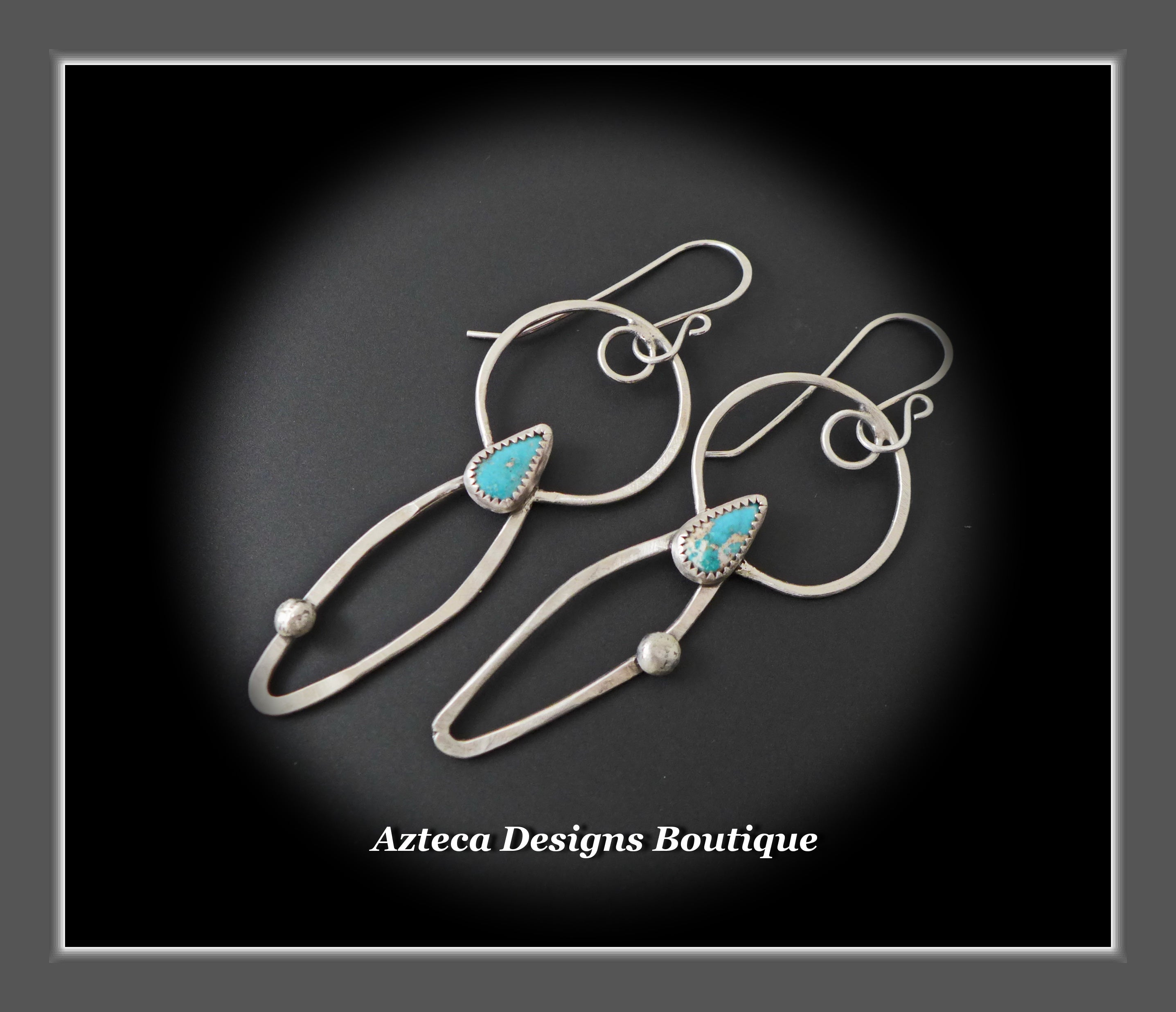 Natural Pinto Valley Turquoise + Argentium Silver Earrings
