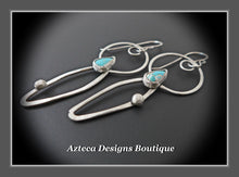 Load image into Gallery viewer, Natural Pinto Valley Turquoise + Argentium Silver Earrings