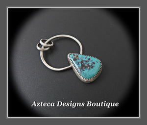 Natural Pinto Valley Turquoise + Sterling Silver Artisan Pendant