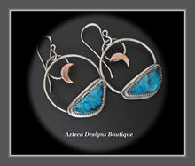 Load image into Gallery viewer, Kingman Turquoise + Argentium Silver + Copper Moon Earrings