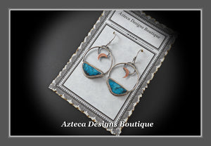 Kingman Turquoise + Argentium Silver + Copper Moon Earrings