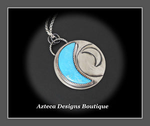 Turquoise + Sterling Silver Crescent MOON Pendant Necklace
