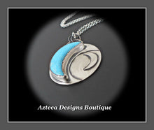 Load image into Gallery viewer, Turquoise + Sterling Silver Crescent MOON Pendant Necklace