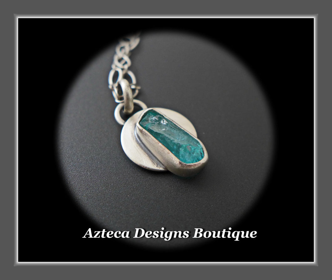 Blue Apatite Crystal + Sterling Silver Necklace