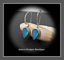 Load image into Gallery viewer, Australian Opal Doublet + Argentium Silver Earrings
