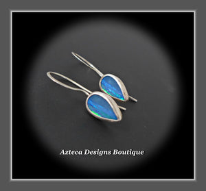Australian Opal Doublet + Argentium Silver Earrings