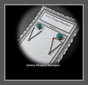 Fox Turquoise + Sterling Silver Distressed Post Earrings