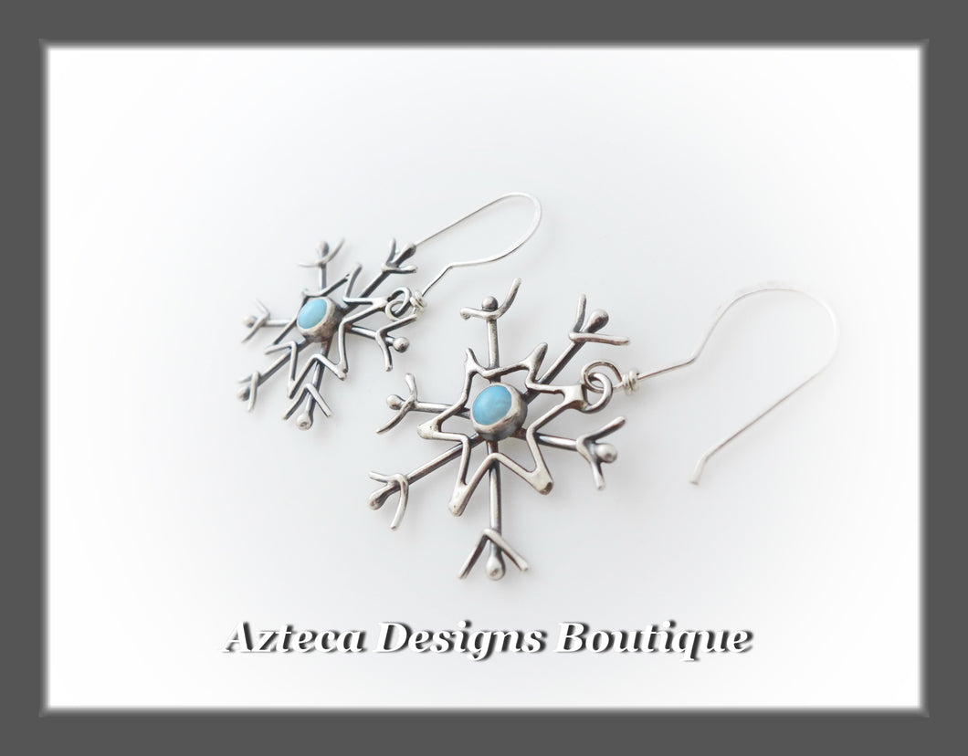 Cultured Sterling Opal + Argentium Silver + Hand Fabricated Snowflake Earrings