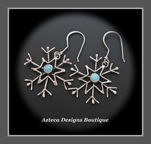 Load image into Gallery viewer, Cultured Sterling Opal + Argentium Silver + Hand Fabricated Snowflake Earrings