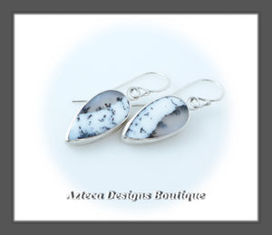 Dendritic Opal + Argentium Silver Hand Fabricated Earrings