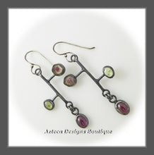 Load image into Gallery viewer, Watermelon Tourmaline + Rhodolite Garnet + Peridot + Hand Fabricated Argentium Silver Earrings