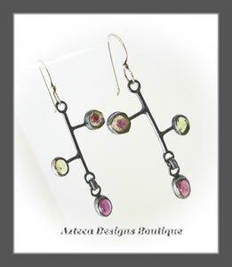 Watermelon Tourmaline + Rhodolite Garnet + Peridot + Hand Fabricated Argentium Silver Earrings