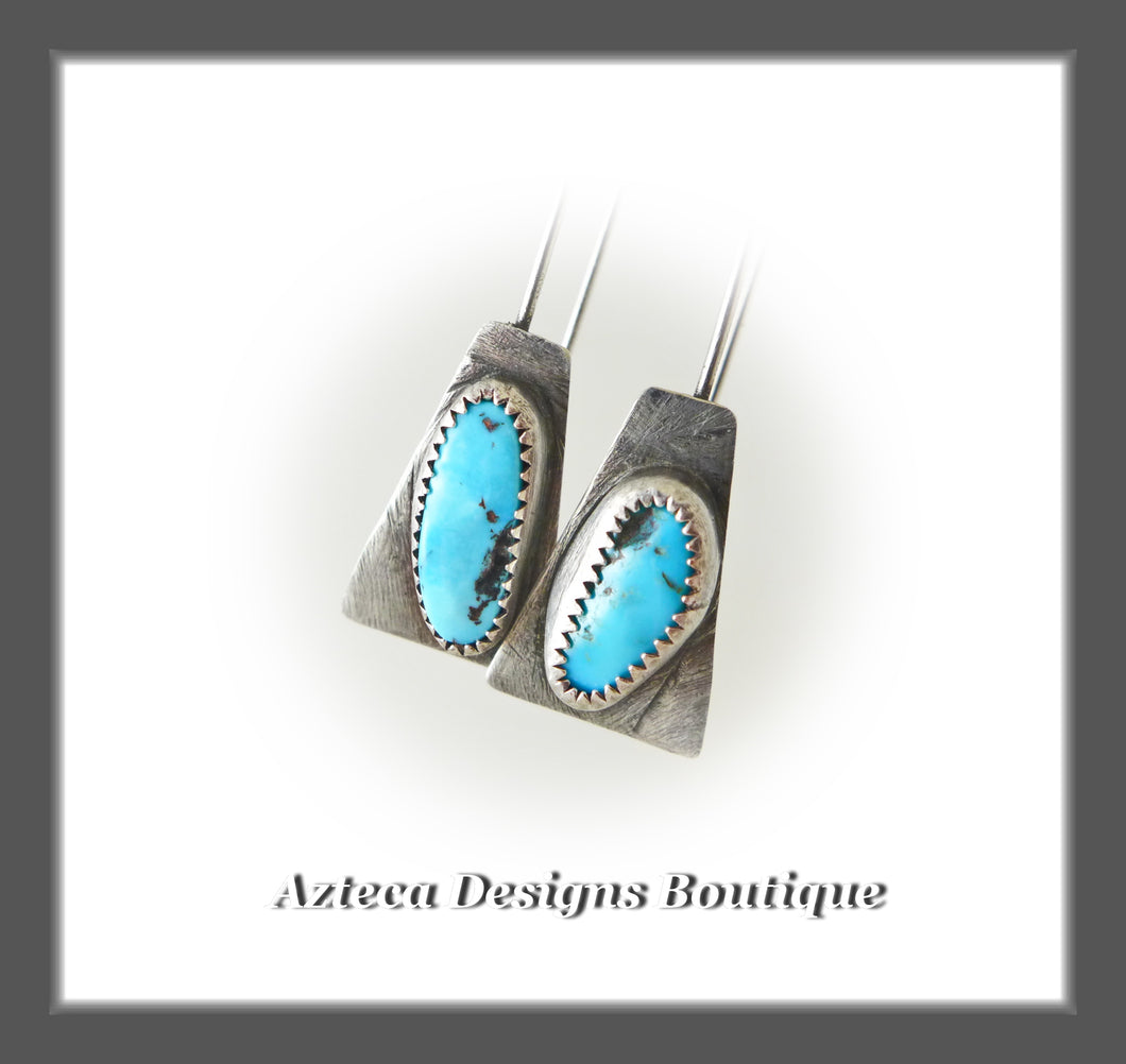Sleeping Beauty Turquoise + Sterling Silver Artisan Earrings