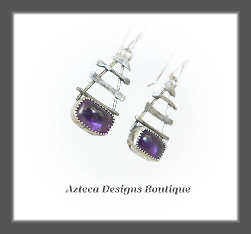 Amethyst + Argentium Silver Hand Fabricated Earrings