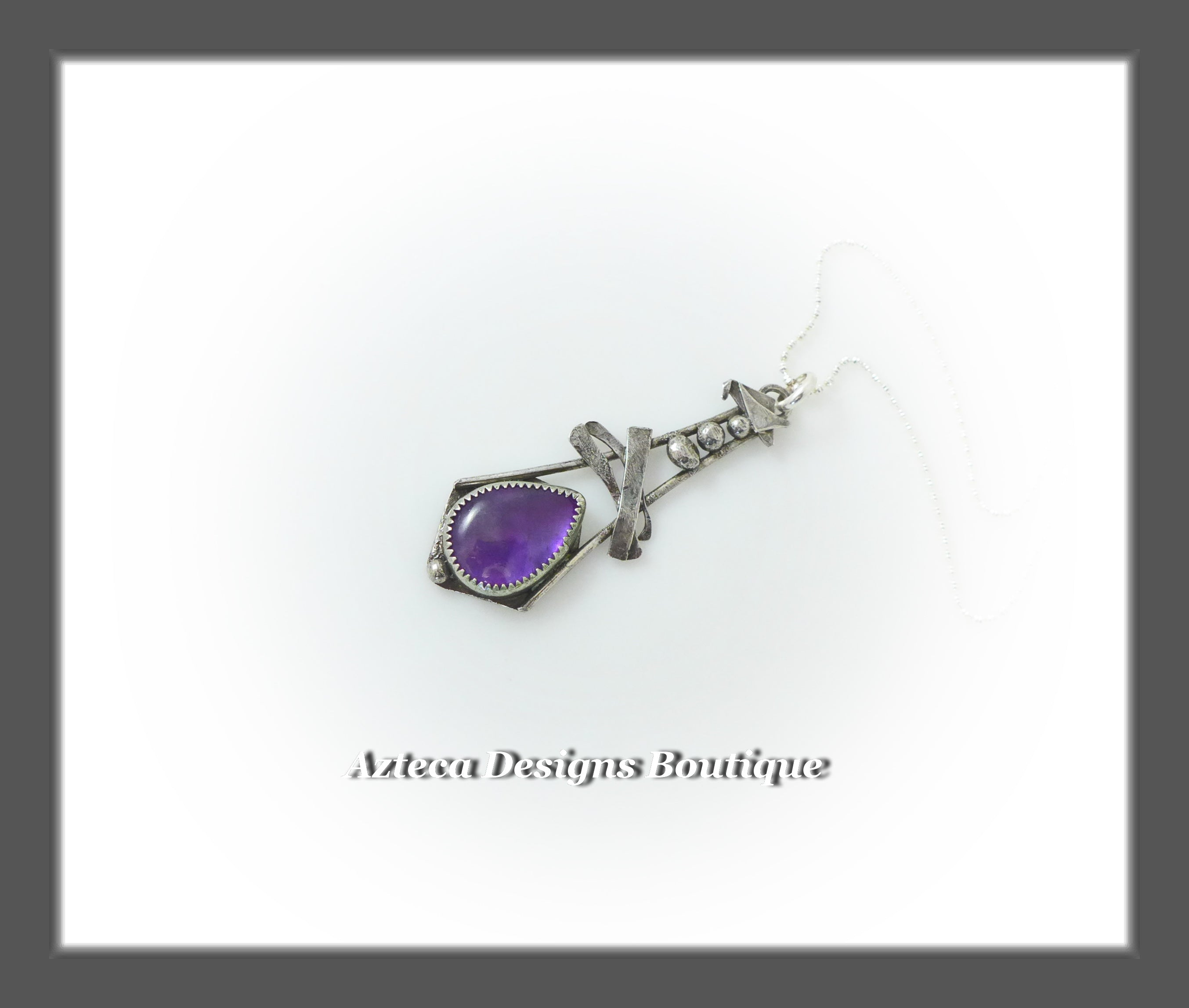 Amethyst + Argentium Silver + Hand Fabricated Pendant Necklace