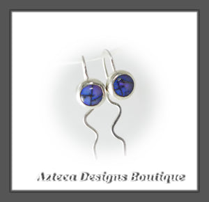 Purple Cultured Opal + Argentium Silver + Minimalist Ear Hugger Earrings