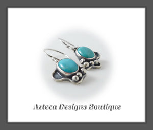 Kingman Turquoise + Argentium Silver + Hand Fabricated Earrings