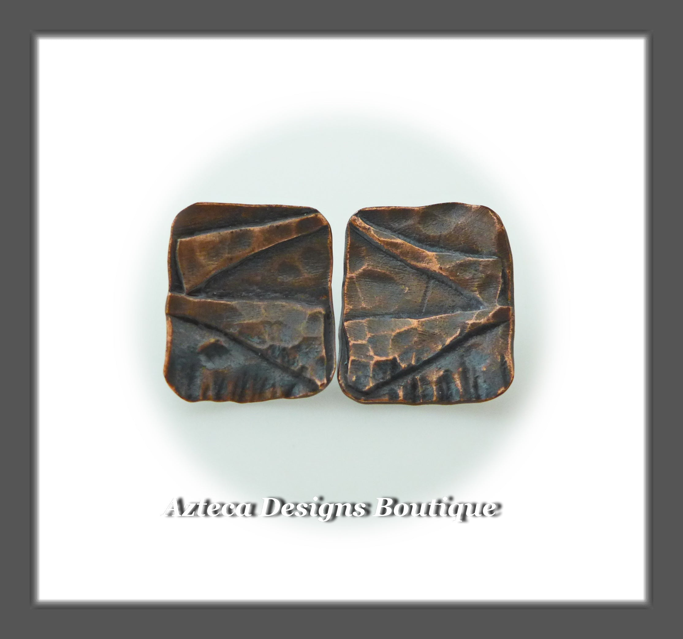 Copper + Rectangle Textured Post Earrings