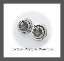 Load image into Gallery viewer, Checker Cut Labradorite + Sterling Silver + Hand Fabricated Post Earrings