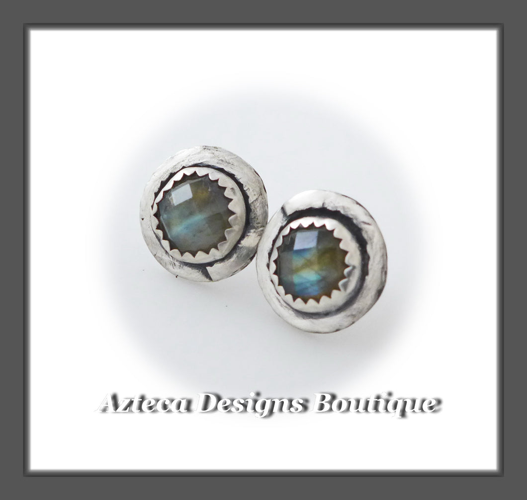Checker Cut Labradorite + Sterling Silver + Hand Fabricated Post Earrings