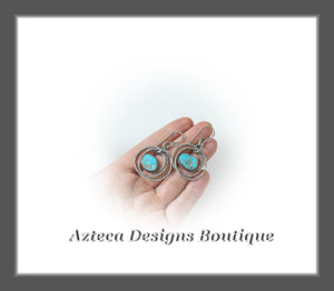 North American Turquoise + Argentium Silver + Hand Fabricated Hammered Hoop Earrings
