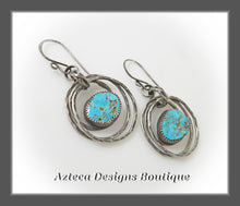 Load image into Gallery viewer, North American Turquoise + Argentium Silver + Hand Fabricated Hammered Hoop Earrings