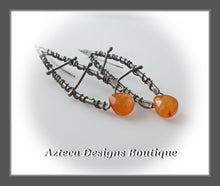 Load image into Gallery viewer, Carnelian+ Argentium Silver + Wire Wrapped Artisan Earrings