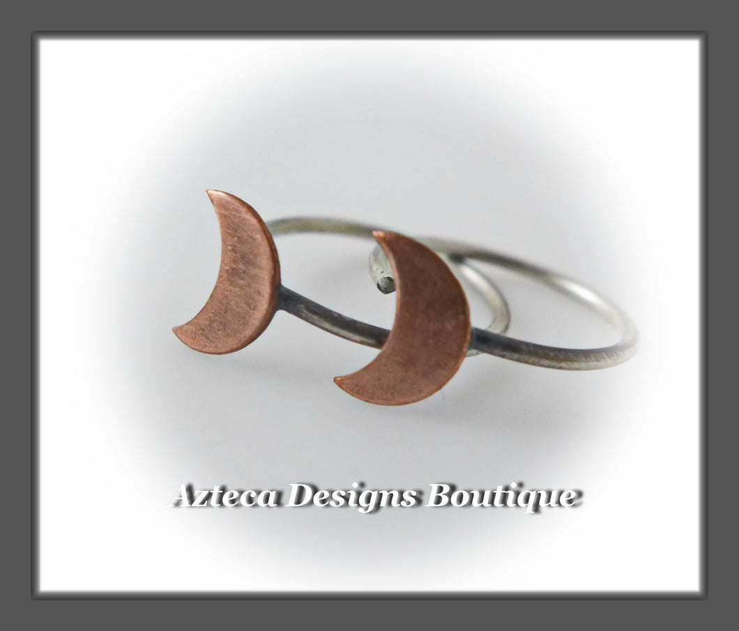 Copper+Argentium Silver+Sleeper Hoop Earrings