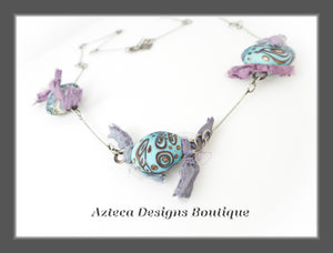 Artisan Lampwork + Sterling Silver + Sari Silk Art Necklace