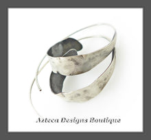 Load image into Gallery viewer, Argentium Silver+Hand Fabricated+Rustic Spiral Hoop Earrings