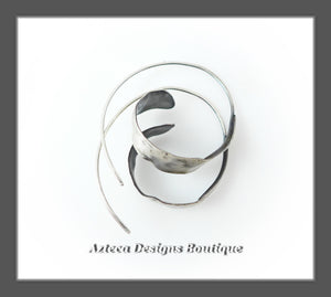 Argentium Silver+Hand Fabricated+Rustic Spiral Hoop Earrings