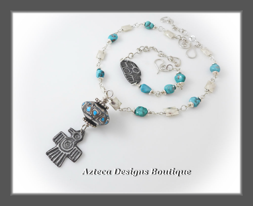 Campitos Turquoise+Artisan Lampwork+Raven+ Sterling Silver Artisan Necklace+Bracelet Two Piece SET