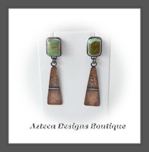 Royston Turquoise+Sterling Silver+Copper+Post Dangle Earrings Embracing Individuality