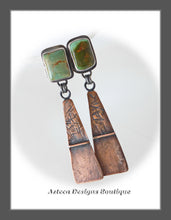 Load image into Gallery viewer, Royston Turquoise+Sterling Silver+Copper+Post Dangle Earrings Embracing Individuality