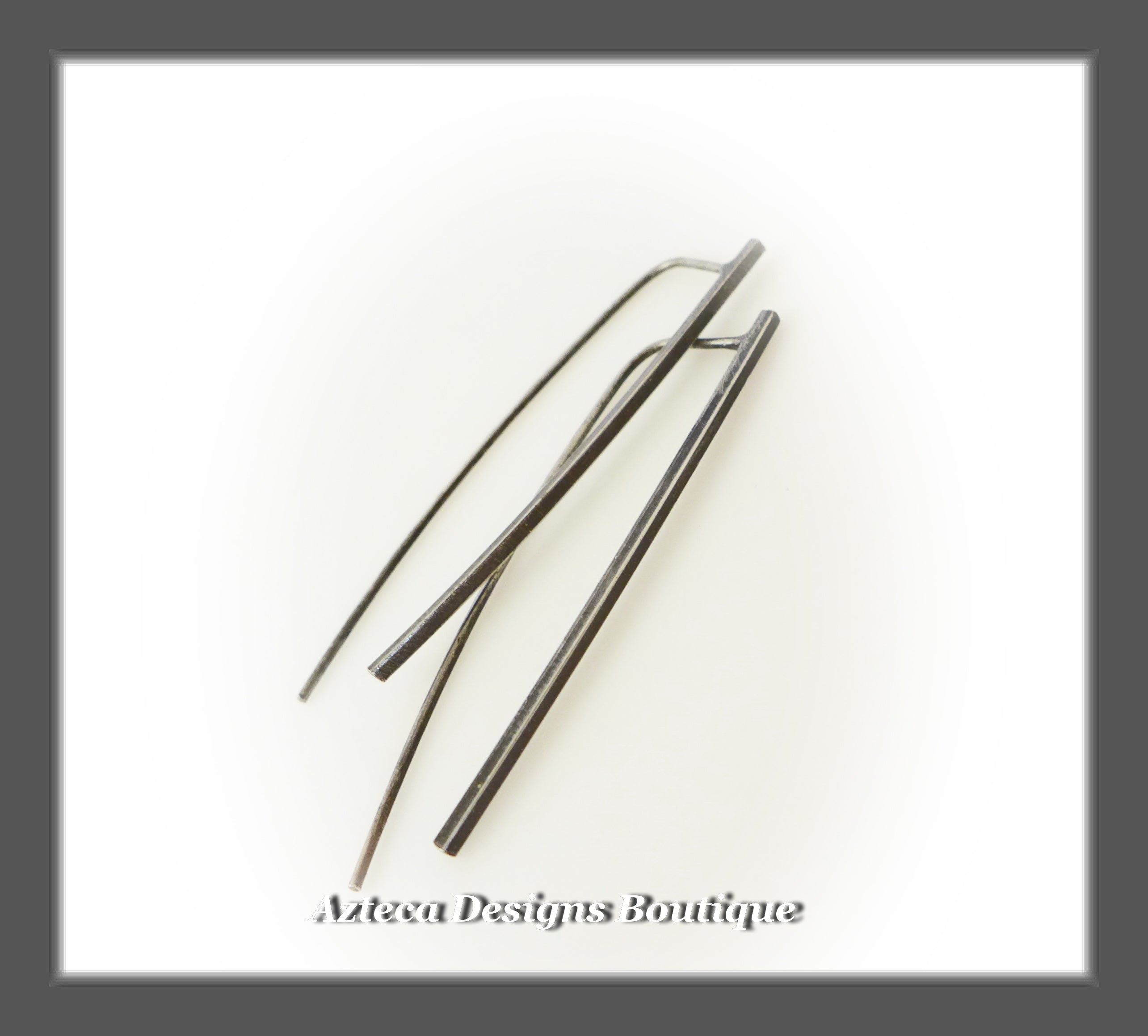 Sterling Silver Bar Minimalist Contemporary Artisan Earrings