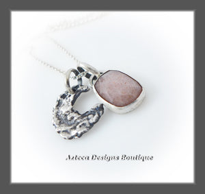 Rosecut Peach Moonstone + Sterling Silver + Hand Fabricated Crescent Moon Charm Necklace
