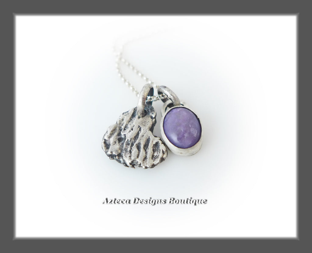 Purple Charoite + Sterling Silver + Hand Fabricated Heart Charm Necklace