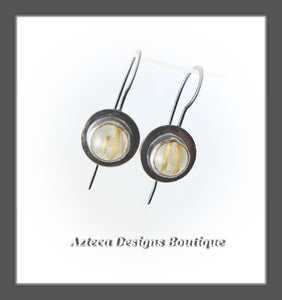 Golden Rutilated Quartz AA Grade + Argentium Silver Earrings